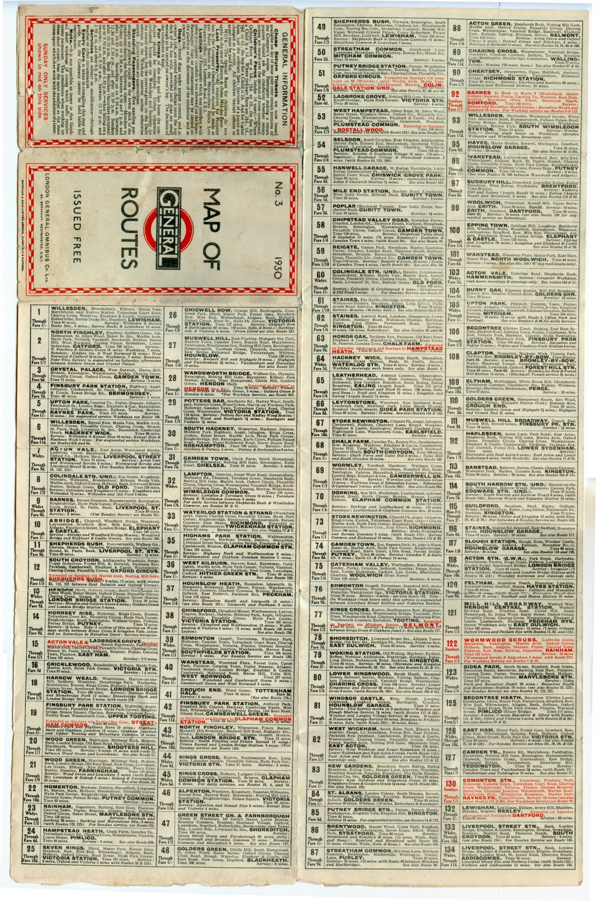 1930 No3 General Bus Routes List part 1