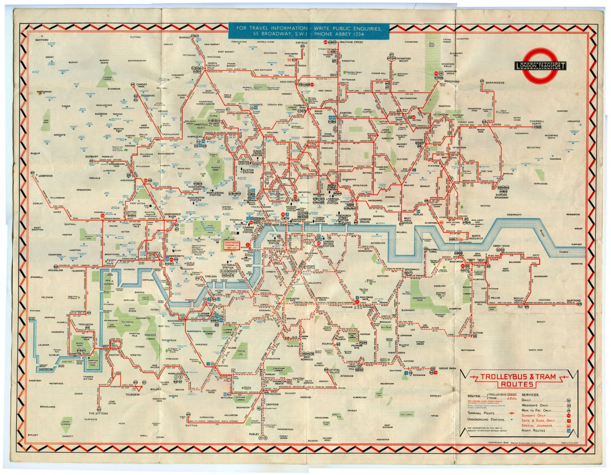 1946 No1 Trollybus and Tram map